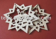2011 Star design polywood Christmas hang decoration