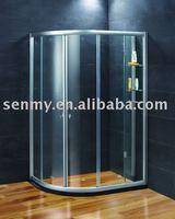 semi-round shower room with glass shelf