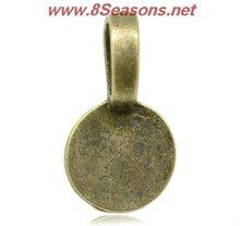 Bronze Tone Round Glue on Bail 18x10mm