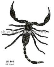 animal hot fix embroidery+rhinestud octagon design
