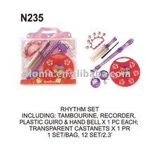 El ritmo n235 sistema incluyendo: pandereta, grabadora, de plástico guiro& campana de mano x1 cada uno; castañuelas transparente x1 pr