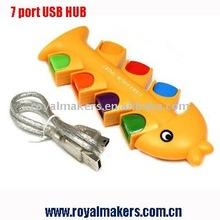 7 Port USB Hubs with Golden Fish Bone Shape + 480Mbps
