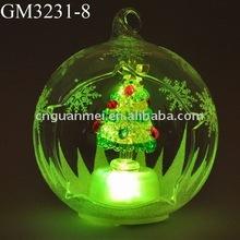 color changing LED glass christmas ball with christmas tree