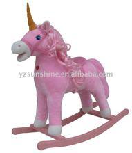 pink plush rocking horse animal with sound