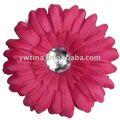 4 polegadas quente rosa gerbera margarida flores com diamante de acrílico para o cabelo/ roupas acessórios