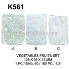 K561 LEAF CLAY POLY MOULD : VEGETABLES FRUITS SET