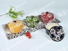 New design stoneware casserole handpainted flower