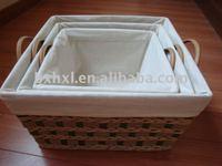 large rectangular paper string weave storage basket with lid