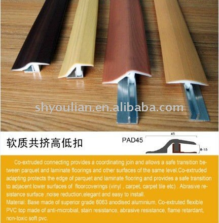 Flexible Floor Transition http://shyoulian.en.alibaba.com/product/466336665-209368618/PVC_Extruded_Strip_Plastic_Floor_Reducer_Profile_Vinyl_Accessories.html