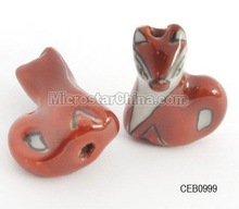 Hand painted porcelain beads, fox
