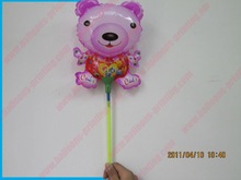 EN71+8''Wx12''H Smell Bear Animal Balloons Mylar Balloon Stick (20cm*33cm,Requires air inflation)-Each