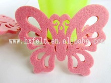Pink butterfly felt coasters for table decoration
