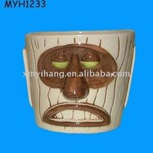 porcelain tiki cup green eyes