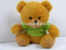 lovely mini stuffed plush bear with green t-shirt