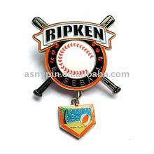 Baseball badge with dangler