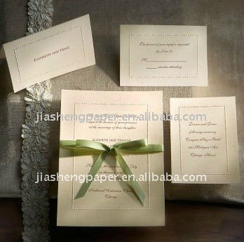 JS Flat Design Pearl Embossing Wedding Invitation Card WI001020