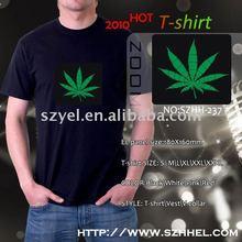 2011 hot sale green leaf innovative el panel design on shirt
