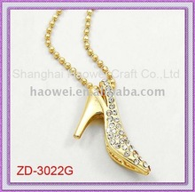 High-Heel Shoe Necklace;Fashion Jewelry;Gold Necklace;Custom-made is welcomed.