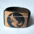 Mão esculpida jóias anel bruxa design osso de boi anel