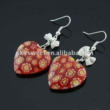 Heart Dangle Coloured Glaze Earrings(SWTJ04402452)
