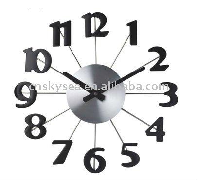 Reloj de pared de metal con grandes n meros relojes pared - Reloj grande de pared ...