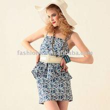 Roses Tube Top One Piece Dress Blue/Indigo