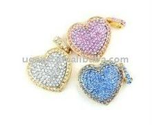Double heart diamond jewelry USB flash drive