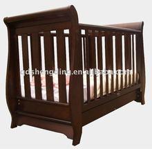 Wooden sleigh cot