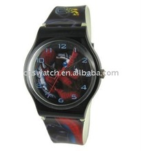 fashion plastic strap PVC band watch digital mens kids cartoon plastic watch
