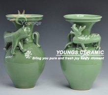 Dragon and Tiger celadon green porcelain