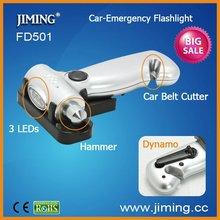 Cranking Safety Belt Cutter & Car Glass Emergency Hammer with LED Dynamo Flashlight(FD501)
