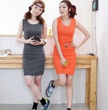 95%cotton 5%spandex lycra 160gsm plain color long sleeveless formfitting close-fitting tank tops summer tight dress