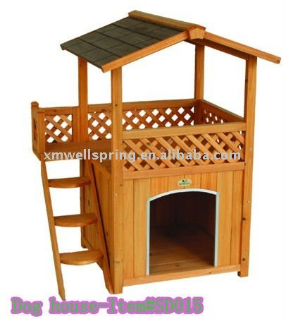 Double wooden dog house with ladder