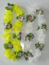 hawaiian flower necklace,polyester flower neckace,artificial hawaiian garland