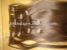 """AAA brown remy 20"""" clip in human hair extension"""