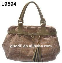 Crocodile with patent trim large tote bag fashion design lady handbags 2012