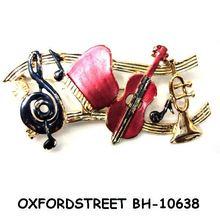 women's fashion alloy&rhinestone music note brooch BH-10638