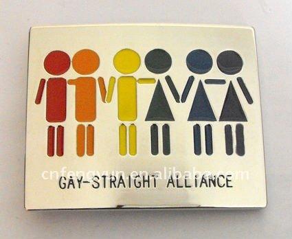 Gay-straight alliance gay lesbian bisexual belt buckle