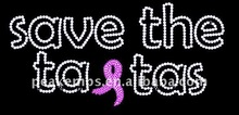 Save The Ta Tas with Ribbon for rhinestone Iron on transfer