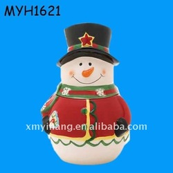 ceramic smiling snowman candy jar