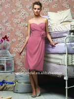 Top popular graceful pink sweatheart neckline strapless chiffon bridesmaid dress ZS-c0015