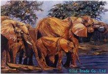 2011 New design elephant family oil paintings