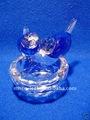 Artesanal de cristal lapidado pássaros em um ninho - azul mh-d0230