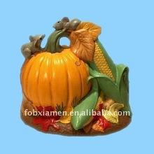 autumn harvest ceramic pumpkin and corn with mice