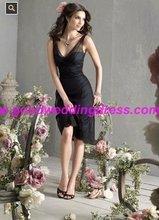 2012 Sexy Spaghetti Strap Black tulle tea length JLM Bridesmaid dresses