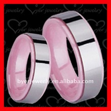 Fashion jewellery tungsten carbide pink ceramic pair rings