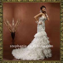 Guangzhou Two Piece Ivory Satin V Neck Frill Open Back Wedding Dress--A6291