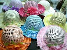 beautiful children' straw sun beach cap with flower