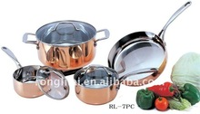 Triply copper 7pcs cookware set/3 layer cooking pot