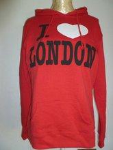 2012 olympic smart hoody of CVC printed pullover long sleeve red fleece sweatshirt hoody with hood